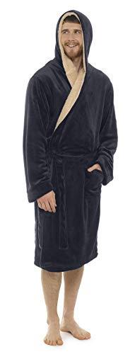 CityComfort Bata para Hombre con Capucha súper Suave Polar Ropa de Dormir túnica (L/XL, Gris carbón)