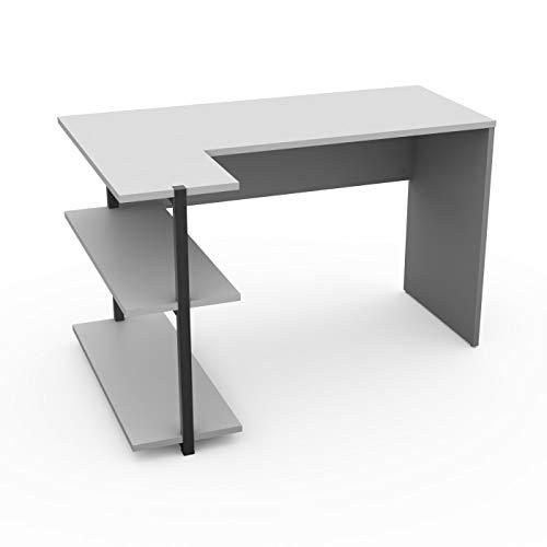LEVIRA – Mesa con estanteria, Sieg - 120 x 80,8 x 74 - Gris y Blanco