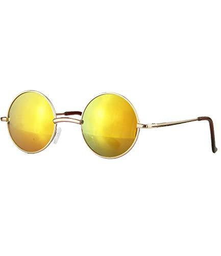 Caripe Lennon Retro Vintage Sonnenbrille Metall Damen Herren rund Nickelbrille (2060 Gold Sun verspiegelt)