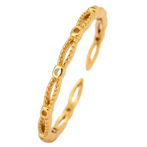 WILD SUN Ring Zart Gold Damen | Schlicht, Ausgefallen, Verstellbar |Zarter, Dezenter Stacking Damenring | Hochwertiger Goldring aus 925 Silber mit 18K vergoldet