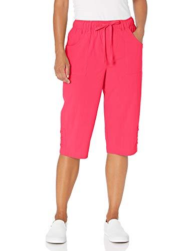 Erika Women's Plus Size Dylan Pull On Laced Hem Skimmer Short, Cherry Red, 1X