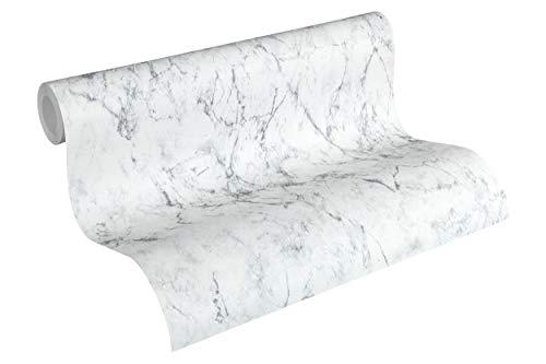 Livingwalls Vliestapete Neue Bude 2.0 Tapete in edler Marmor Optik 10,05 m x 0,53 m grau weiß Made in Germany 361572 36157-2