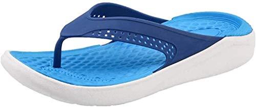 LCFF Chanclas Mens Flip-Flop Playa del Verano Sandalias Ocasionales de los Zapatos de los Planos Ahueca hacia Fuera Transpirable Zapatillas for el Aire Libre (Color : Blue, Size : UK7-41 EU)