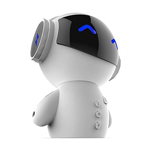 Greatangle-UK Mini Robot Inteligente Altavoz Inalámbrico Bajo Altavoces Inalámbricos Portátiles Soporta Tarjeta TF Banco de Energía para Dormitorio Junto a la Cama Blanco 118 * 96 * 160 mm