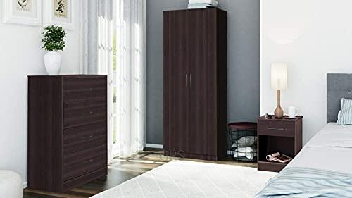 2 Tür Kleiderschrank Kommode Nachttisch Trio Set Schlafzimmermöbel (Farbe: Rustikale Eiche) Home
