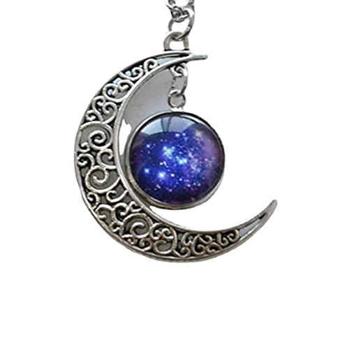 Collar de luna, collar de luna creciente, collar de galaxia, cielo estrellado azul, collar de estrellas, joyería del universo cósmico, espacio nebular