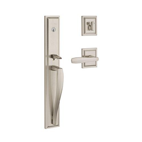 Baldwin Torrey Pines Single Cylinder Front Door Handleset Featuring SmartKey Security in Satin Nickel, Prestige Series with a Modern Contemporary Slim Door Handleset and Square Lever