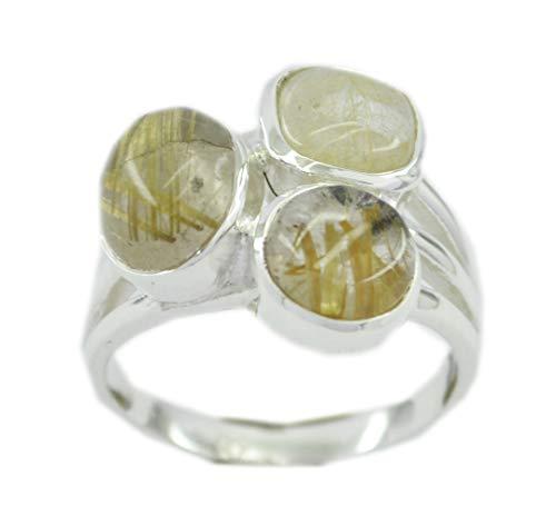 riyo Edelstein 925 Sterling Silber einladender natürlicher Multi Ring, Rutil Quarz Multi Edelstein Silber Ring