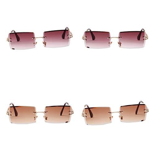 Harilla Gafas de Sol de Corte Rectangular para Mujer de 4 Piezas, Gafas de Sol Teñidas de Fiesta Clásicas Retro