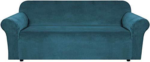 Samt Plüsch Sofabezug, rutschfeste Sofa Schonbezug Stay In Place Super Rich Möbelbezug zum Wohnen, Einbau Sofa Protector High Stretch Plüsch Sofa Schonbezüge (Deep Teal, 4-Sitzer/Sofa)