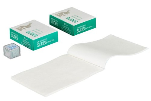 OMAX 100 Piece Blank Glass Frosted Slides and 100 Piece Cover Slips with 100 Sheets Microscope Lens Cleaning Paper
