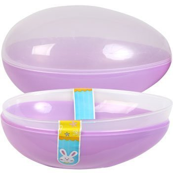 Natorytian Jumbo Easter Egg Plastic Egg Shaped Containers Assorted Pastel Colors, 7 3/4' - Set of 2