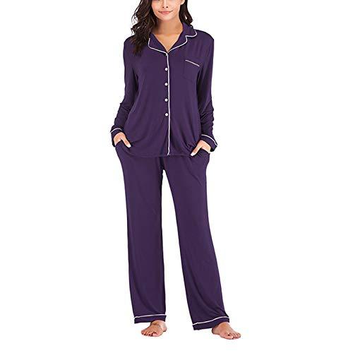 MIEAHORY Juego de 2 piezas de pijama para mujer con solapa, manga larga + pantalones de cintura elástica para niñas