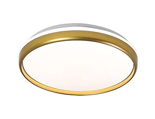 DSYADT Lámpara de Techo Redonda Dorada Montaje Empotrado Luces de Techo LED de 16 Pulgadas Candelabros de Cocina LED de 24W Lámparas LED de Techo de Pared Interior para baño Dormitorio Escalera Sala