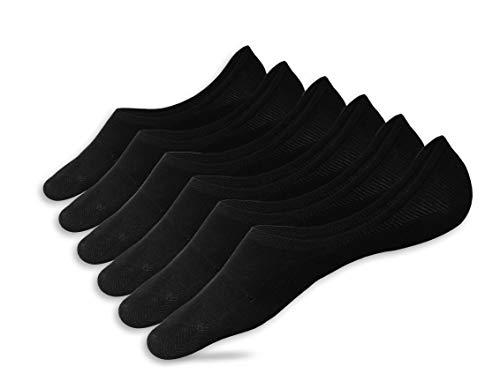 Eedor Women's 3 Pairs Thin No Show Socks Non Slip Flat Boat Line Large Black