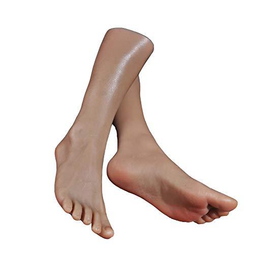QZAA-Modelo de Pie de Silicona Modelo de Hombre Pie Falso Textura de Piel Realista Adecuada para Pies Sandalias de Exhibición Calcetines Mostrar Hermosos Pies Arte Dibujo Pies Juguetes