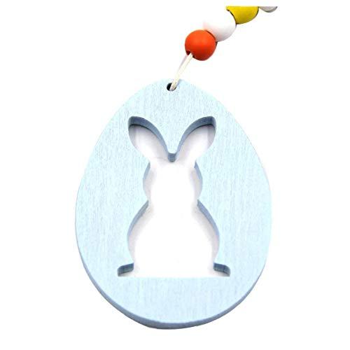 Adore store Semana Santa Artesanía de Madera con Forma de Huevo Conejo decoración de Madera para la decoración de Pascua decoración del hogar Regalo para los niños (Azul-Huevo Colgante)