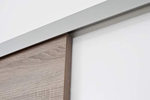 Rahmenlose Holzschiebetür in Wildeiche | Maße des Türblattes: 900 x 2035 mm | Inkl. Beschläge und einer oberen Laufschiene in 2 Metern | Geeignet als Zimmertürersatz - 6