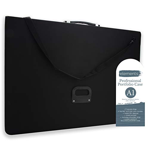 A1 Artist Portfolio Case - Art Presentation Storage Bag Weather-Resistant Supply Portfolio with Shoulder Strap for Students & Professional Artists - (A1 35.1'x26'x1.7', Black)