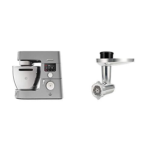 Kenwood KCC9060S Cooking Chef Gourmet, Impastatrice Planetaria, Robot da Cucina Mixer, 1500W, 4.5 Litri & KAX950ME Accessorio Tritacarne per Impastatrice Planetaria, Acciaio, Argento