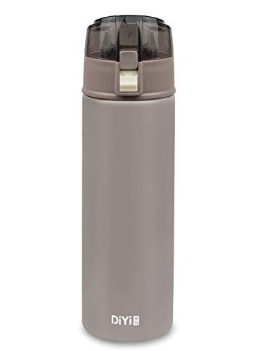 Bioasis 600 ML Botella de Agua de Pared Doble con Aislamiento al vacío, Botella de Agua de Prueba de Fugas, Botella Térmica de Acero Inoxidable sin BPA, para Gimnasio, Oficina, Deportes