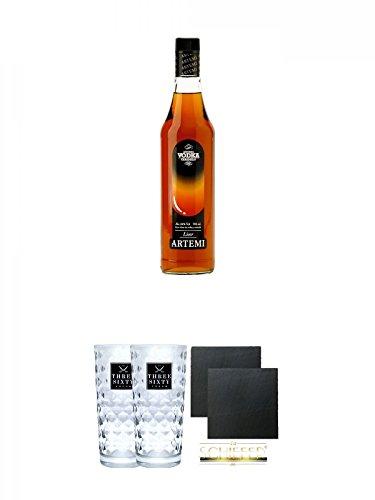 Vodka Caramelo (VODKA) Artemi 0,7 Liter 24% + Three Sixty Vodka Gläser 2 Stück + Schiefer Glasuntersetzer eckig ca. 9,5 cm Ø 2 Stück