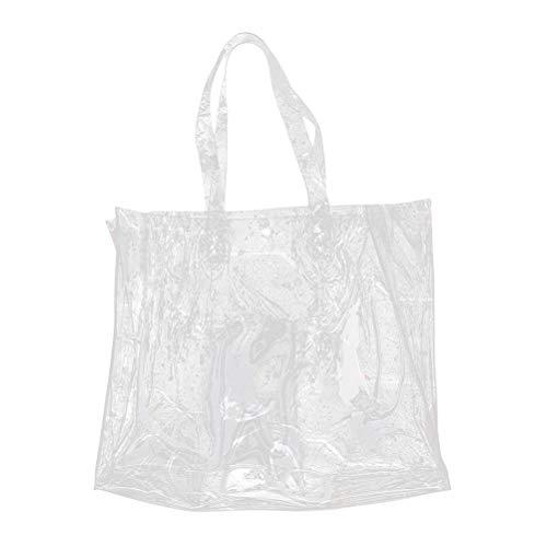 TENDYCOCO Einkaufstasche große klare Tasche PVC transparent Umhängetasche durchsichtig Strandtasche für Frauen Mädchen Schule Arbeit