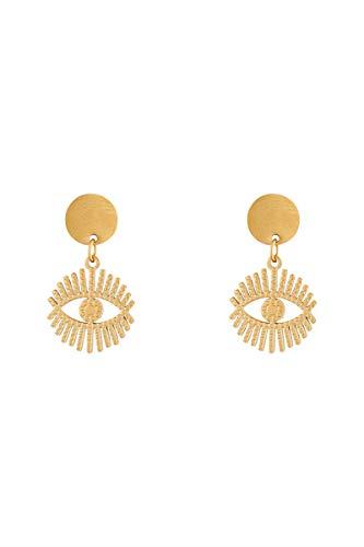 Córdoba Jewels | Pendientes en plata de ley 925 bañada en oro con diseño Ojo Turco Chapa Gold