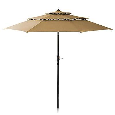 Patiassy 11 ft Patio Umbrella 3 Tiers Outdoor Umbrella Patio Table Umbrella with Push Button Tilt, Crank and 8 Ribs for Garden, Lawn, Deck, Backyard and Pool, Tan
