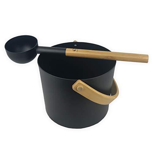 SudoreWell® Saunaeimer Saunakübel Set Kolo schwarz aus Aluminium mit Saunaeimer und Saunakelle