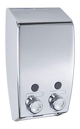 WENKO 2-Kammer Seifenspender Varese Chrom - Flüssigseifen-Spender Fassungsvermögen: 0.9 l, Kunststoff, 13.5 x 25 x 8 cm, Chrom
