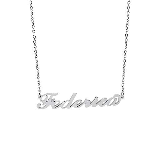 Collana Donna con Nome Federica in Acciaio in corsivo Elegante Girocollo Regolabile Anallergico Color Argento Confezione Regalo Inclusa