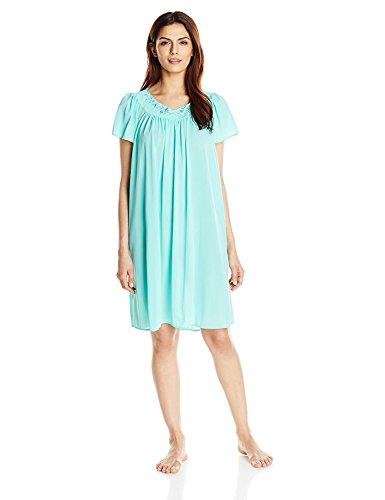 Miss Elaine Women's Plus Size Short Tricot Gown, Aquamarine, 3X