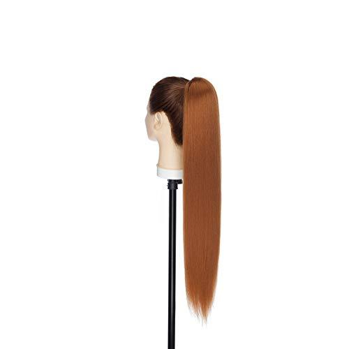 Extensiones de Cabello de Moño con Cordón de Cola de Caballo Recta Rizada Afro con dos Pinzas de Peine Postizo 55cm Castaño claro