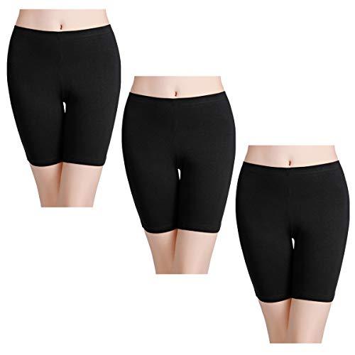 wirarpa Boxershorts Damen 3er Pack Lang Baumwolle Unterwäsche Weich Panties Hosen Unter Kleid Schwarz Größe M
