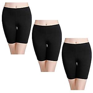 wirarpa Shorts Leggings Pantalon Cortos Algodon Mujer 3 Pack Cintura Alta Bragas Seguridad Boxer Mujer Tallas Grandes Negro L