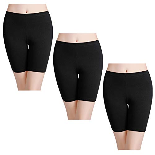 wirarpa Boxershorts Damen 3er Pack Lang Baumwolle Unterwäsche Weich Panties Hosen Unter Kleid Schwarz Größe XL