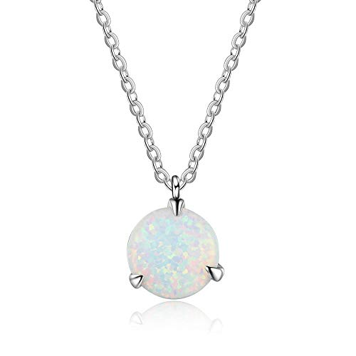 YAZILIND S925 Sterling Silver Round Opal Pendant Necklace Women Girls Wedding Valentines Jewellery Gift(Style 1)