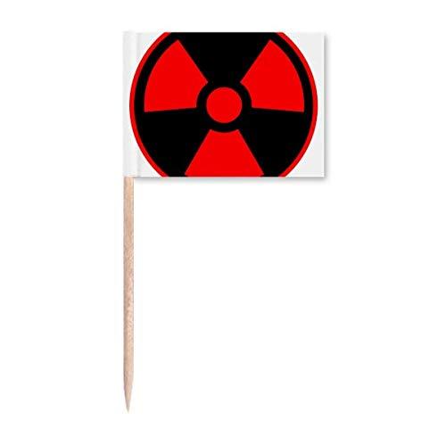 Red Dangerous Chemical Giftige Strahlung Symbol Zahnstocher Flaggen Marker Topper Party Dekoration