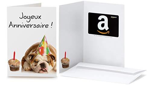 Carte cadeau Amazon.fr - Dans une carte de vœux Anniversaire Bulldog