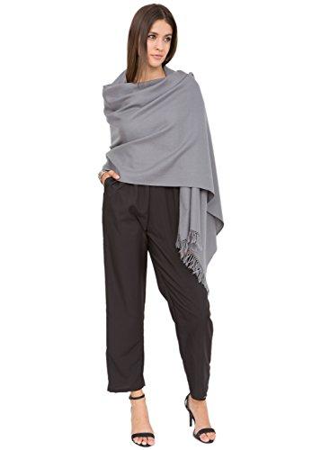 likemary Damen Schal Schultertuch aus 100% Merino Wolle - Poncho Stola XXL Tuch & Umschlagtuch - ideales Geschenk für Frauen - Kasa grau