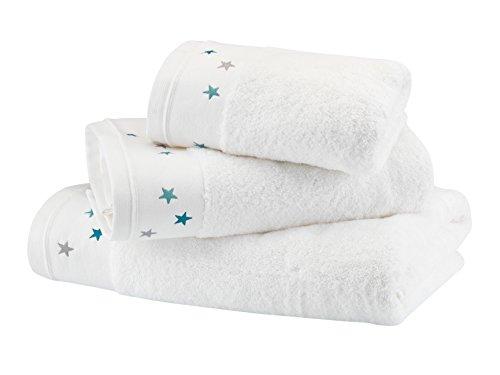 BLANC CERISE Serviette de Toilette - Coton peigné 600 g/m² -Blanc brodé Gris 050x100 cm