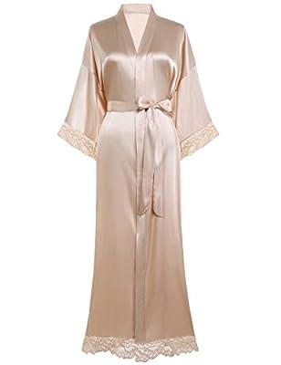 "BABEYOND Womens Satin Kimono Robe Long Bridesmaid Wedding Robes for Bachelorette Party Bath Robe Nightgown Sleepwear with Lace Trim 52"" (Nude Pink)"