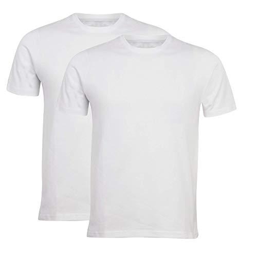 Pack de 2 camisetas lisas con cuello redondo, manga corta. blanco XL