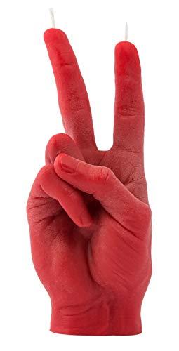 CandleHand Candela gesto mano SEGNO DI PACE - Grande mano reale Dimensioni 20 x 7 x 7 cm - Statua del vincitore fatta a mano - Compleanno, ufficio, regalo di inaugurazione della casa (Rosso)