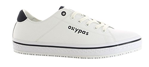 """Oxypas Fashion, Berufsschuh \""""Paola\"""", antistatischer (ESD) Leder Sneaker für Damen (38, weiß - blau)"""