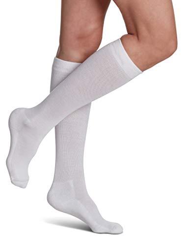 SIGVARIS EVERSOFT - Calcetines diabéticos de 160 rodillas de compresión de 8 a 15 mmHg, 160CX00, XL, Blanco, 1