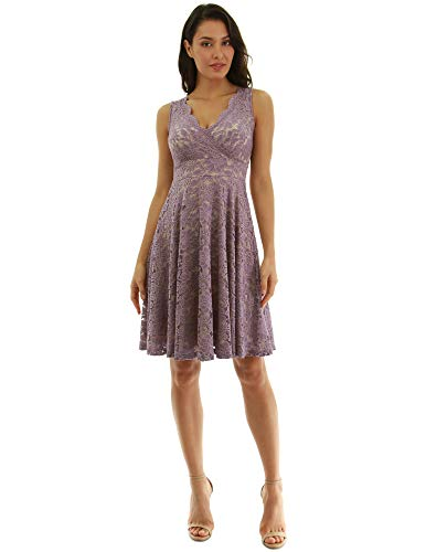 PattyBoutik Women Floral Lace Overlay Fit and Flare Dress (Light Purple and Beige X-Small)