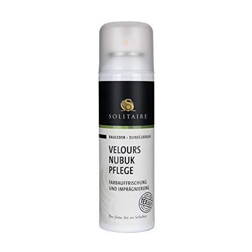 Solitaire Velours Nubukpflege Spray 200 ml Farbauffrischung und Imprägnierung für alle Rauleder (Velours-, Nubuk- und Wildleder) sowie Textilien Farbe dunkelbraun