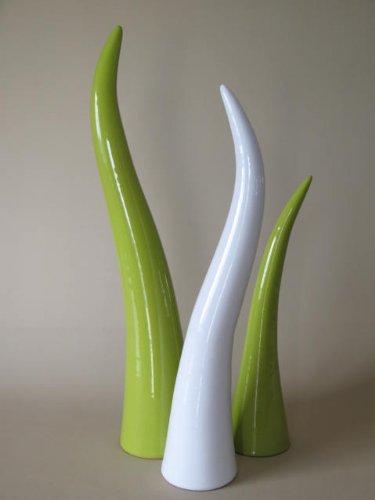 Jarron de Ceramica Verde de 55,45,35 Centímetros- (JUEGO DE 3 PIEZAS) - Jarrones Grandes de Suelo - Jarrones Grandes de Decoracion – Florero de Ceramica Alto - Jarrón de Cerámica Alto Suelo Verde